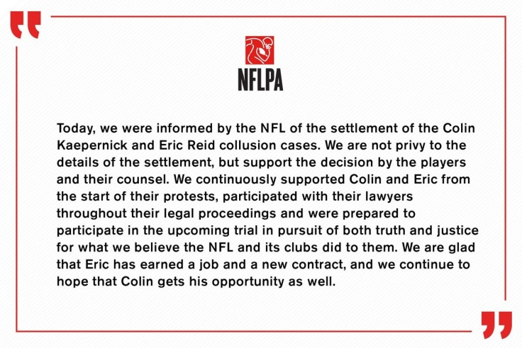 NFLPA Kaepernick Settlement Announcement